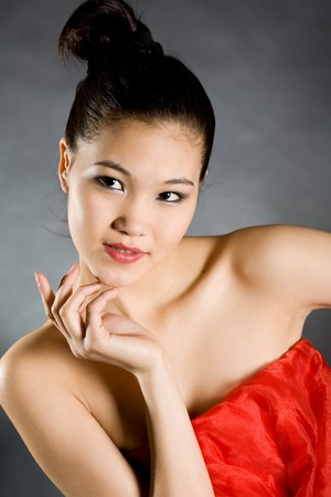 Portrait of the young elegant girl in a concert suit photo