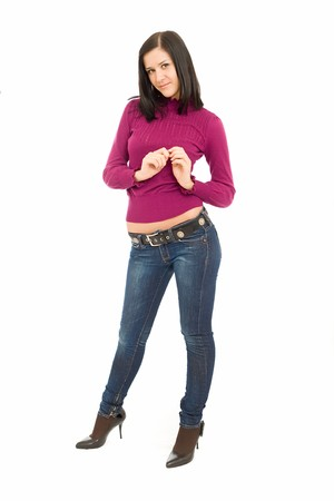 The girl in jeans and a sweater