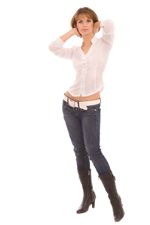 Portrait of the young woman in jeans photo