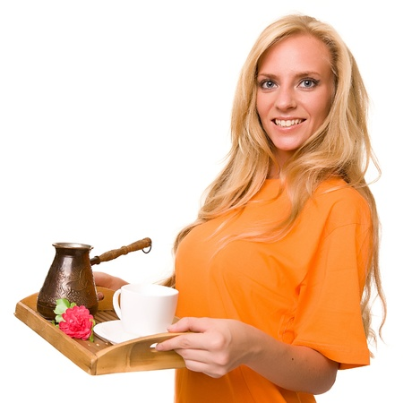 spacing: young girl with a spacing for coffee