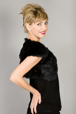 The girl in elegant black linen photo