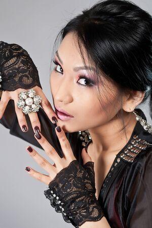 Portrait of the Tuva beautiful girl photo