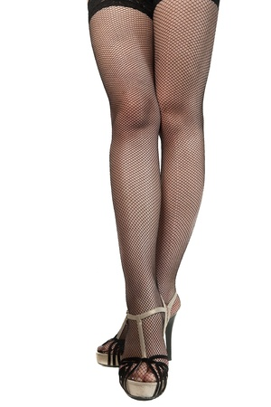 woman legs in stockings. Isolated on white. photo