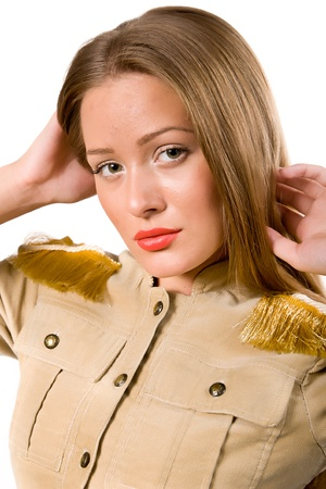 epaulettes: Portrait of the beautiful girl in a jacket with epaulettes  Isolated on white