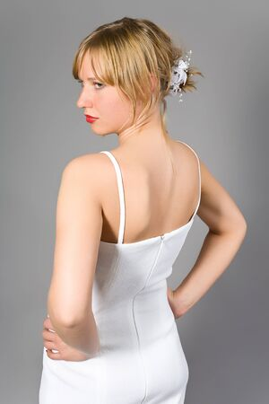 The young woman in white linen photo