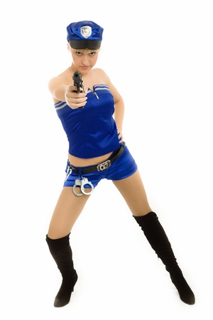 The girl in the form of the policeman Stock Photo - 12569539