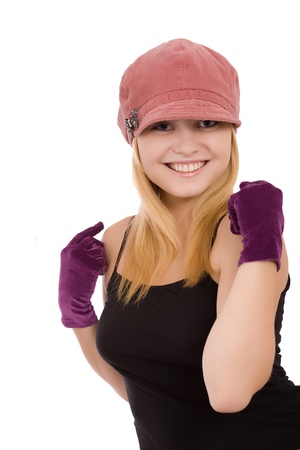 Portrait of the beautiful young girl in gloves on a white background Stock Photo - 12569489