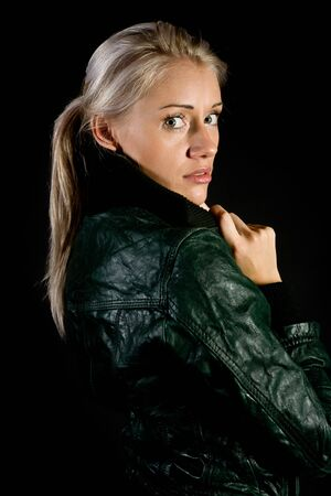 blonde hispanic: Portrait of the girl in a leather jacket