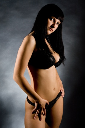 young beautiful girls in elegant black linen photo
