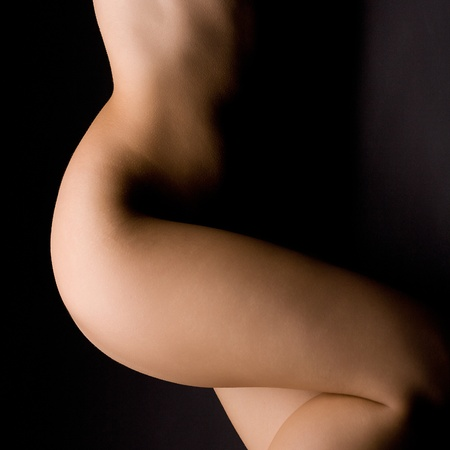 nude female body model: Portrait of the young nude woman