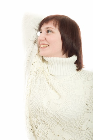 1 adult only: beautiful woman in a white sweater on a white background