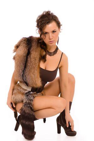 unpredictable: Model photosession in a scenic suit Stock Photo