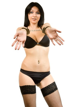 attractive woman in black linen and handcuffs Stock Photo - 12953968