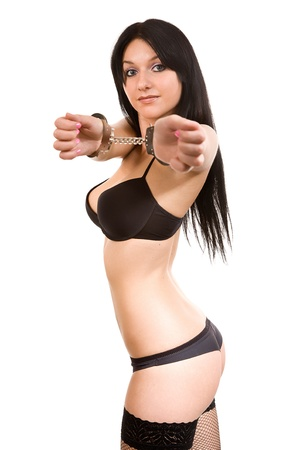 attractive woman in black linen and handcuffs Stock Photo - 12953869