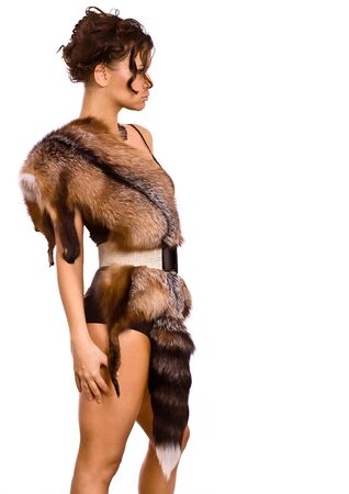 young woman in a fur suit of the amazon Stock Photo - 12992128