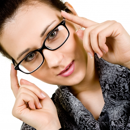 spec: young attractive woman wearing spectacles  isolated on white Stock Photo