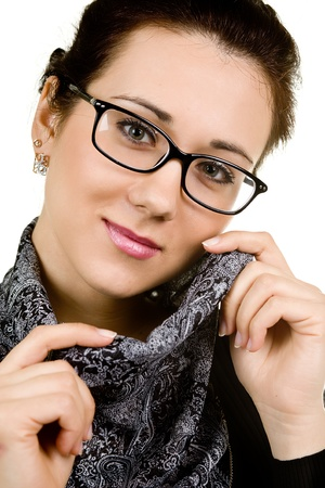 young attractive woman wearing spectacles  isolated on white photo