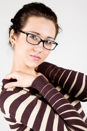 young attractive woman wearing spectacles  photo