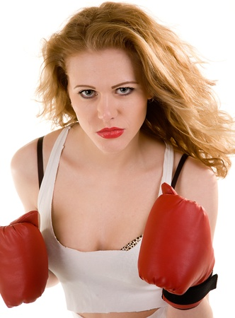 attractive woman in boxing gloves photo