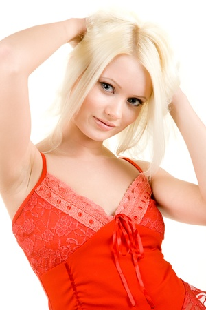 attractive blonde in red linen  isolated on white Stock Photo - 13359384