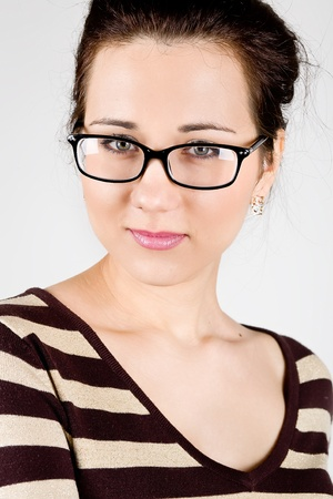 young attractive woman wearing spectacles