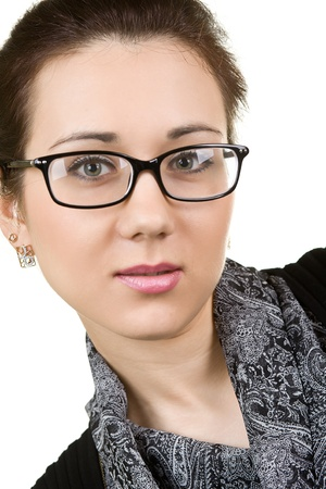 woman wearing glasses: young attractive woman wearing spectacles  isolated on white Stock Photo