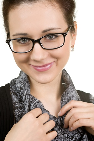 young attractive woman wearing spectacles  isolated on white Stock Photo