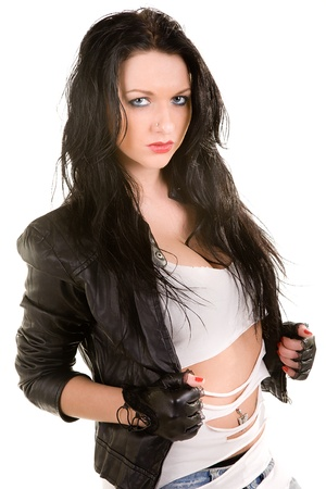 Portrait of the brunette in a leather jacket  Isolated on white photo