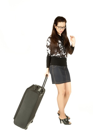 young attractive girl with a suitcase photo