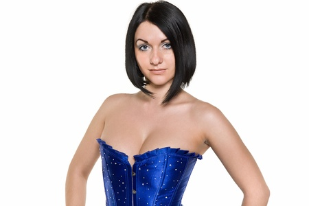 attractive brunette in a blue corset photo