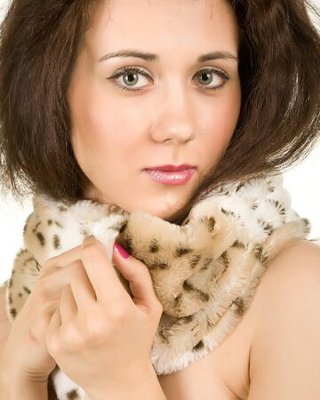 attractive woman in a beautiful fur collar photo