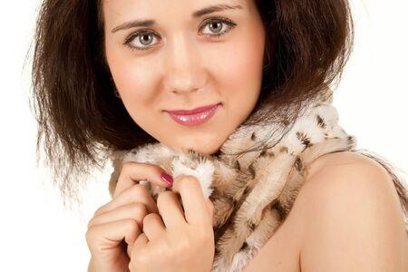 Beautiful brunette in a beautiful collar photo