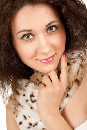 Portrait of an attractive woman in a fur collar photo