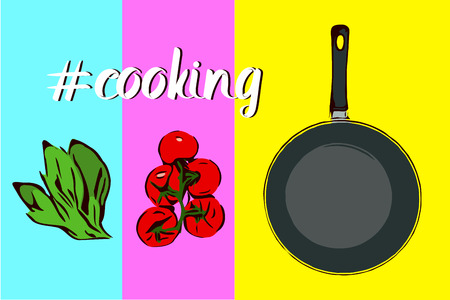 Cooking text with hashtag on colorful blue, pink and yellow background. Red french french french french fudge pancake.