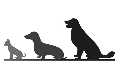 Three sitting dogs behind each other. Black and gray dogs vector silhouettes. Illustration of domestic animals looking to the left. Ilustrace