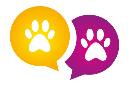 Two Dog paws on violet and yellow circles. Colorful Animal Paw Print. pet's paw print silhouette vector logo for web and print. Message signs with animals foot marks. Illustration
