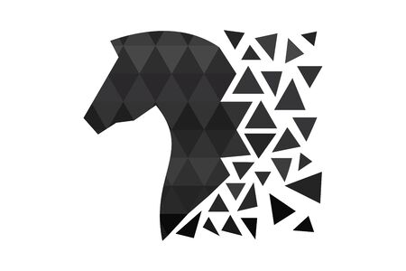 Dark horse silhouette with polygons. Triangle design. Animal of polygons. Horse head silhouette.
