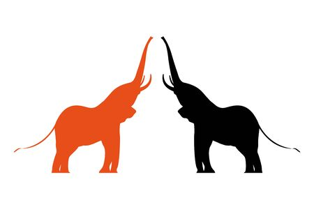 Two colorful vector elephants with raised trunks. Safari animals silhouettes.