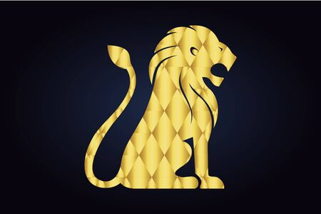 Polygonal lion silhouette. Sitting lion with opened mouth and raised tail. Golden triangles.