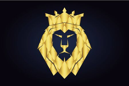 Polygonal lion silhouette. Head of the lion with closed mouth and. Golden triangles. Golden safari animal head. Vettoriali