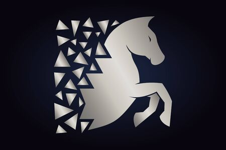 Abstract of the horse. Silver horse silhouette on dark background. Running horse with triangles behind. Ilustrace
