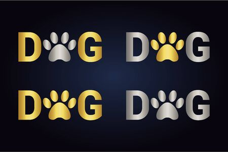 Isolated silver and golden dog text with animal paw print instead letter o. Pet footmark in word dog.