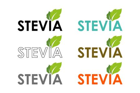 Symbol of stevia or sweet grass in different colors with herbal leaves.