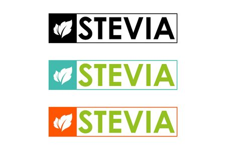 Symbol of stevia or sweet grass in colorful frame with herbal leaves. Stevia set in orange, green and black colors.
