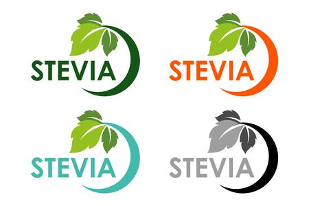 Symbol of stevia or sweet grass with colorful semicircle frame with herbal leaves.