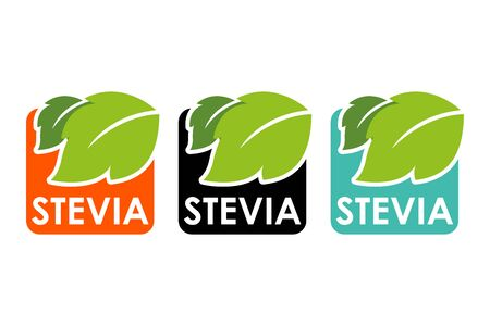 Symbol of stevia or sweet grass with colorful labels and green herbal leaves.