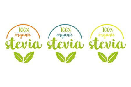 hundred Organic stevia or sweet grass vector set in different colors with green herbal leaves and colored semicircle