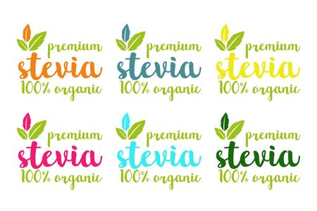 Premium hundred percent organic stevia or sweet grass vector set in different colors with herbal leaves