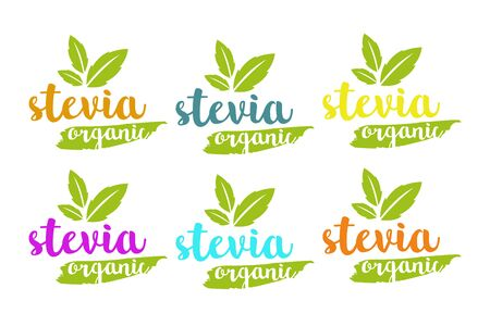 Organic stevia or sweet grass vector set in different colors with herbal leaves