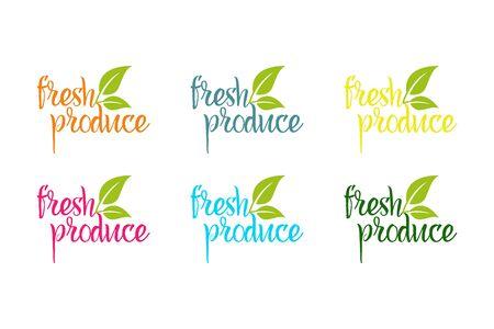 Logo vectoriel de produits frais dans différentes couleurs avec des feuilles d'herbes vertes Logo